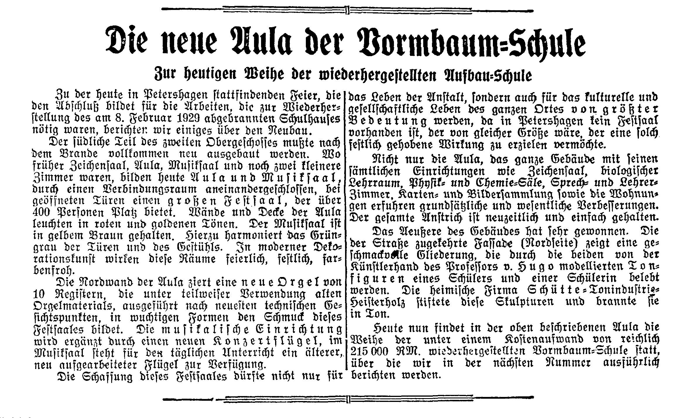Read more about the article Brand und Wiederaufbau der Vormbaumschule